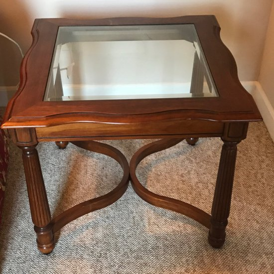 Nice Wooden End Table w/Glass Top