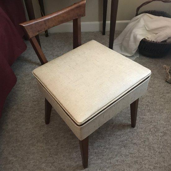 Mid-Century Modern Sewing Chair w/Storage