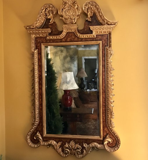 Impressive Beveled Mirror in Burled Wood Chippendale Gilt Frame with Ornate Gilt Accents