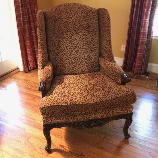 Nice Tall Wingback Chair w/Hand Carved Legs and Cheetah Print