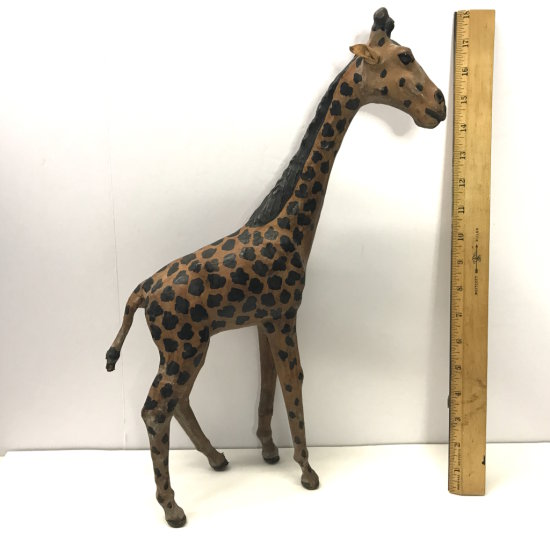 "17"" Leather Giraffe Figurine"