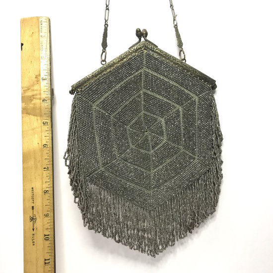 Early Metal Beaded Octagonal Purse