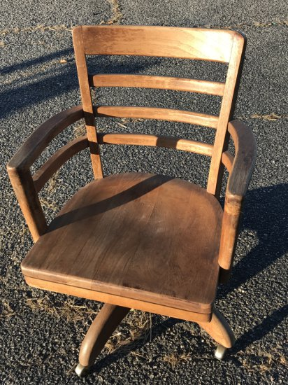 Vintage Wooden Rolling Office Chair