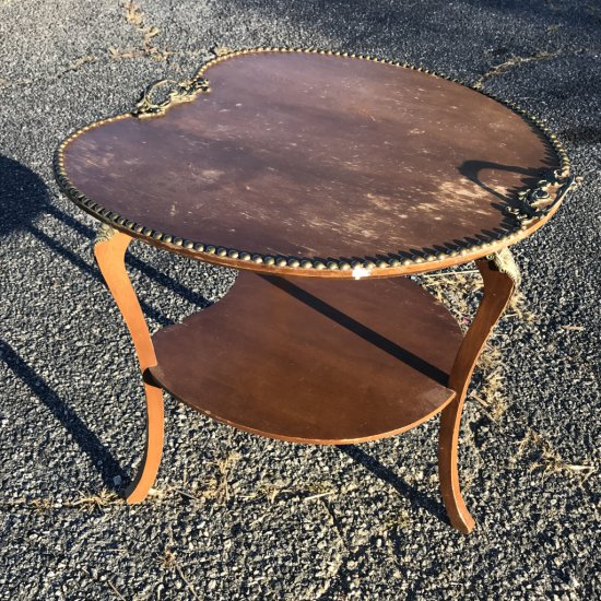 Unique Antique Wooden 2 Tier Table with Brass Tacking & Handles