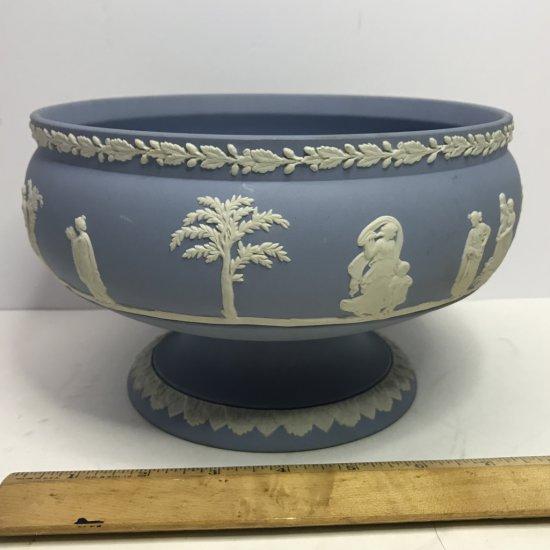 Large Vintage Wedgwood Blue & White Pedestal Bowl