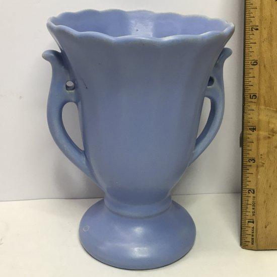 Vintage Periwinkle Double Handled Vase