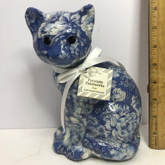 Holland Blue Chintz Porcelain Cat Figurine