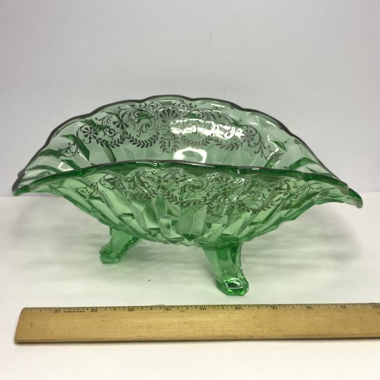 Impressive Large Vaseline Glass 3 Footed Ruffled Bowl with Silver Accent