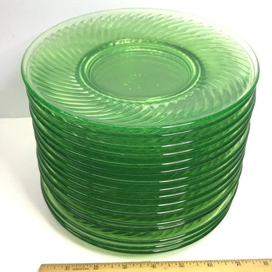 "Set of 16 Vaseline Glass 8"" Plates"