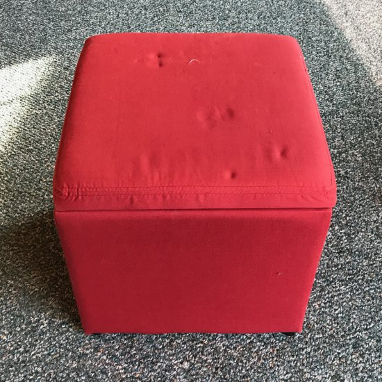 Red Cushioned Stool w/Storage