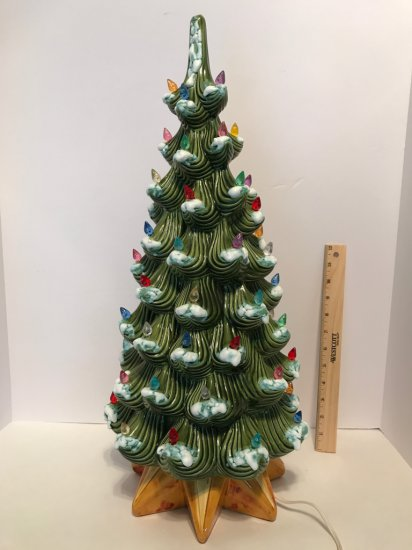Tall Ceramic Light-Up Christmas Tree