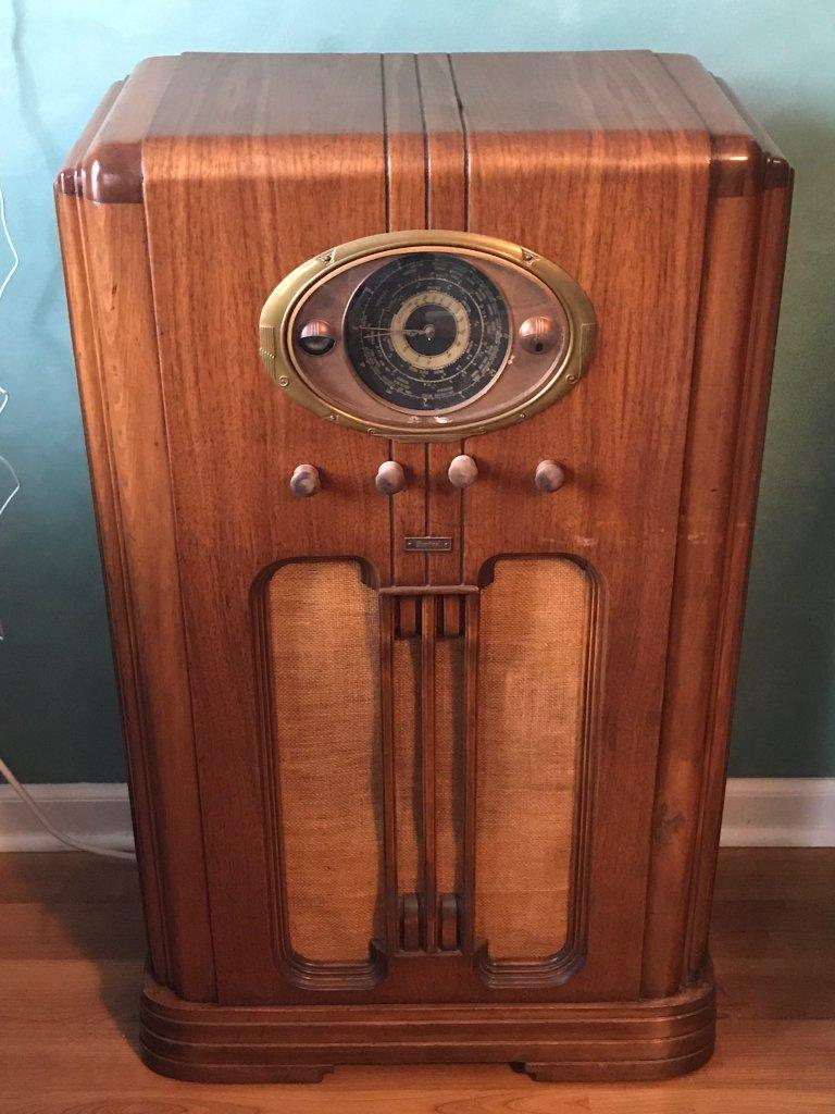 Vintage Wooden Floor Radio