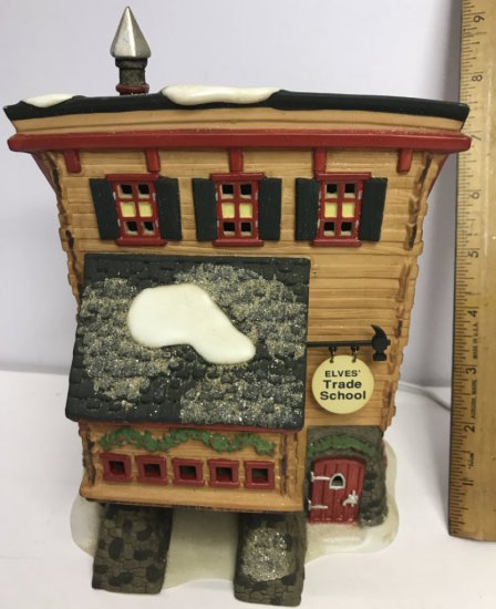 """Department 56 North Pole Series """"Elves Trade School"""" Lighted Village House"""
