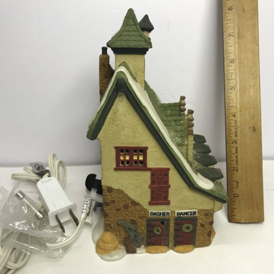 "Department 56 North Pole Series ""Reindeer Barn"" Lighted Village House"