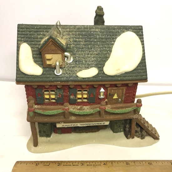 """Department 56 North Pole Series """"Santa's Woodworks"""" Lighted Village House"""
