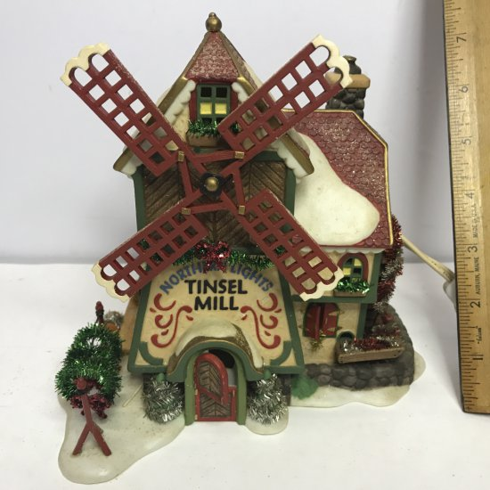 """Department 56 North Pole Series """"Northern Lights Tinsel Mill"""" Lighted Village House"""