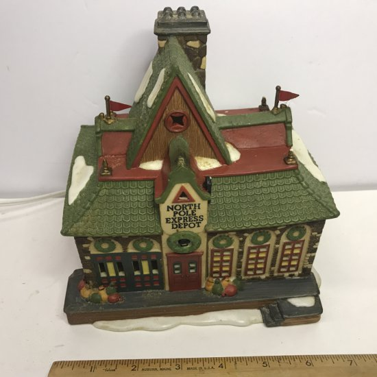 """Department 56 North Pole Series """"North Pole Express Depot"""" Lighted Village House"""