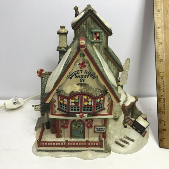 """Department 56 North Pole Series """"Sweet Rock Candy Co."""" Lighted Village House"""