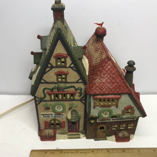 """Department 56 North Pole Series """"Obbie's Books & Letrinka's Candy"""" Lighted Village House"""