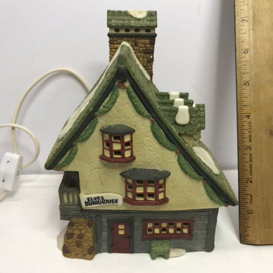 """Department 56 North Pole Series """"Elf Bunkhouse"""" Lighted Village House"""