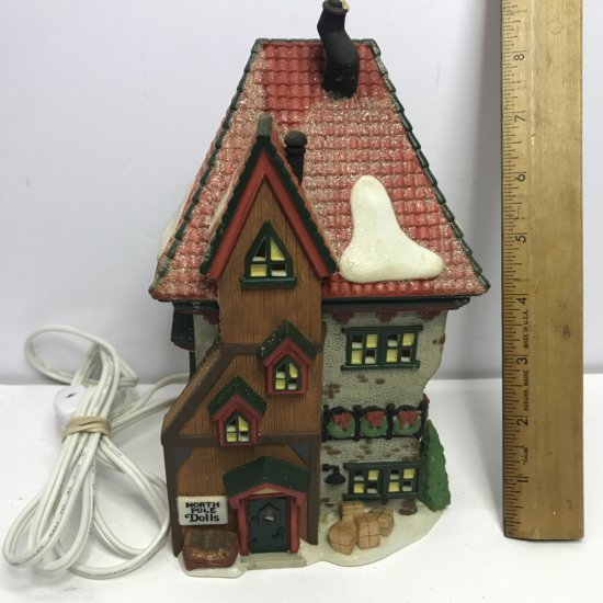 """Department 56 North Pole Series """"North Pole Dolls"""" Lighted Village House"""