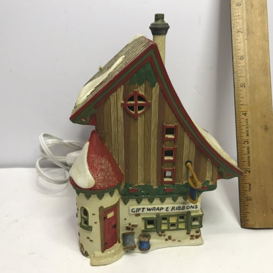 """Department 56 North Pole Series """"Gift Wrap & Ribbons"""" Lighted Village House"""