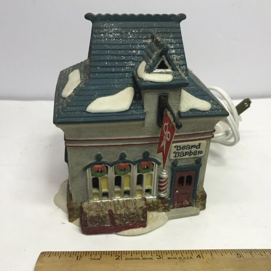 """Department 56 North Pole Series """"Beard Barber Shop"""" Lighted Village House"""