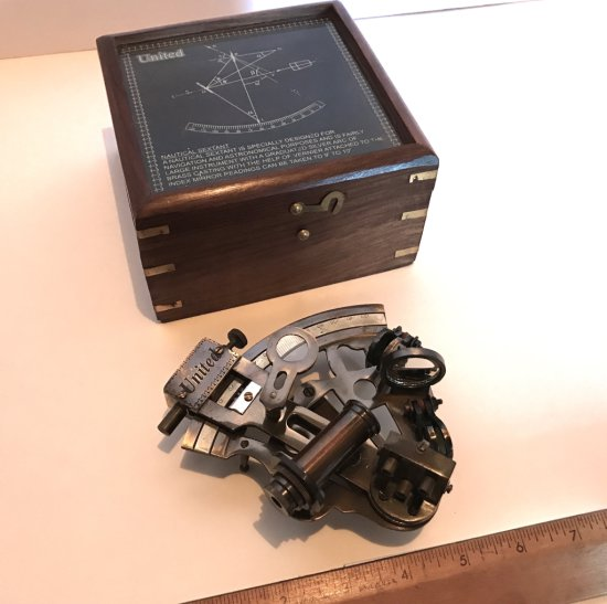 United Nautical Sextant in Wooden Box