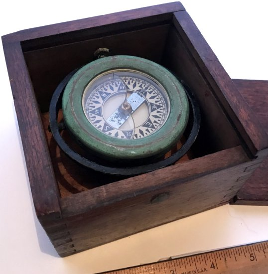 Vintage Compass in Wooden Dove Tailed Box