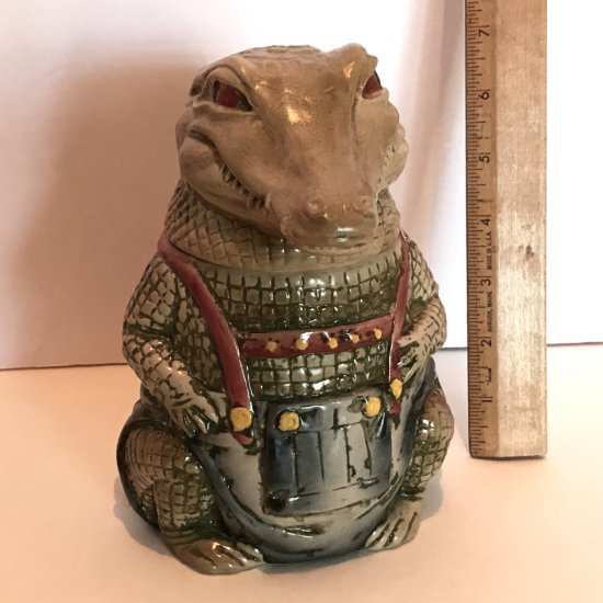 Hand Painted West Germany Crocodile Stein