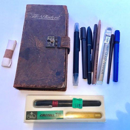 Vintage Pencil Case Full of Art Pens & Misc.