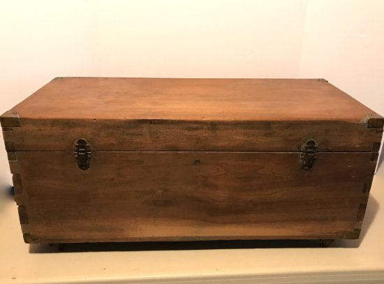 Antique Wooden Chest w/Hand Dove Tailed Corners on Coaster