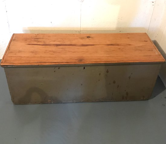 Antique Wooden Chest w/Dove Tailed Corners & Roped Side Handles