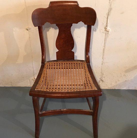 Vintage Birds Eye Maple Cane Bottom Chair