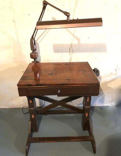 Vintage Art Desk w/ Attached Lamp, Pencil Sharpener & Drawer with Misc Art Supplies