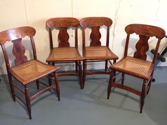 Set of 4 Birds Eye Maple Cane Bottom Chairs