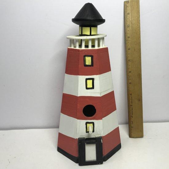 Wooden Handpainted Lighthouse Bird House