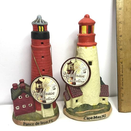 Pair of Ceramic Lighthouses - Ponce de leon FL & Cape May, NJ