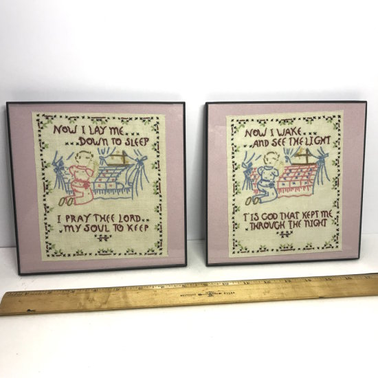 "Pair of Needlepoint ""Now I Lay Me Down To Sleep.."" Wall Hangings"