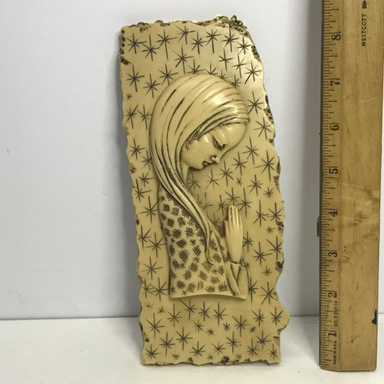 Vintage Faux Ivory Praying Woman Wall Hanging