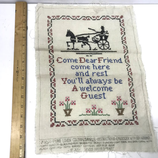 "Vintage Cross Stitch ""Come Dear Friend..."""