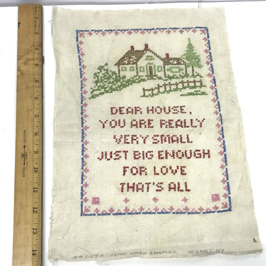 "Vintage Cross Stitch ""Dear House You Are Really..."""