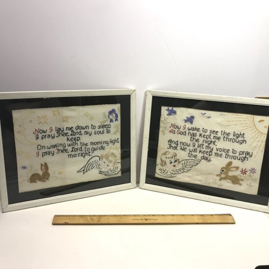 "Pair of Vintage Needlepoint Pictures ""Now I Lay Me Down To Sleep"" & ""Now I Wake to see the Light.."""