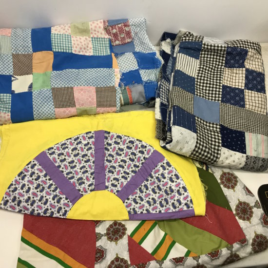 Gorgeous Lot of Vintage Handmade Quilt Toppers, Quilt Squares & Quilt Pieces