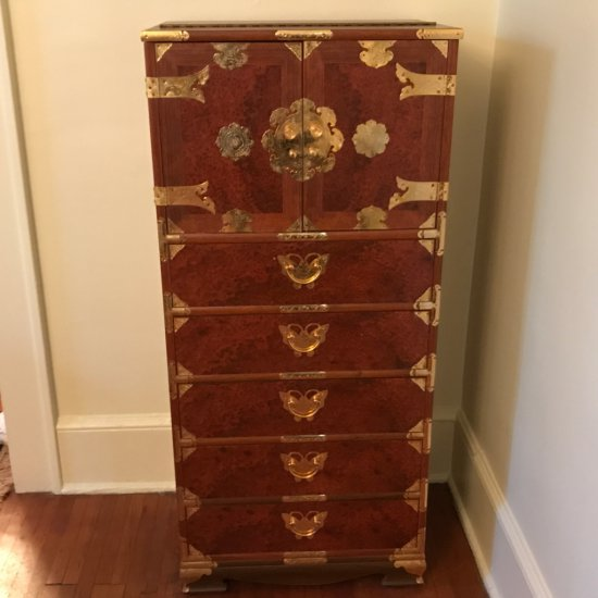 Awesome Chinoiserie Burled Wood Tall chest with Ornate Brass Hardware