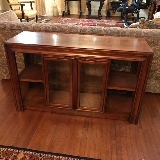 Lighted Sofa Table with Lower Cabinet & Side Shelves