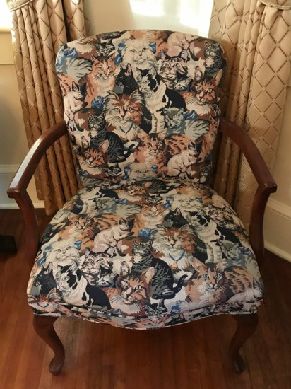 Vintage Arm Chair w/Upholstered Cat Print