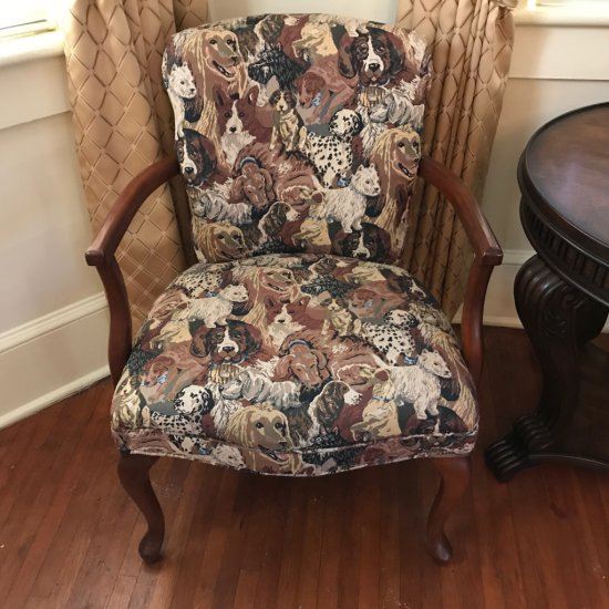 Vintage Arm Chair w/Upholstered Dog Print