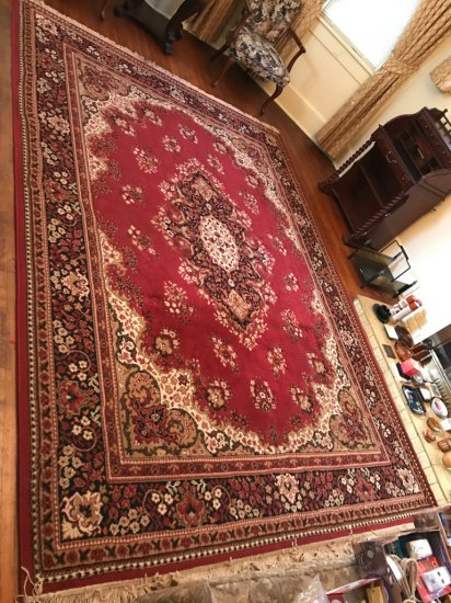 Large Room Size Oriental Style Rug w/Reds, Tans and Black