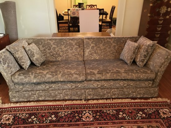 Vintage Sofa with Raised Floral Design